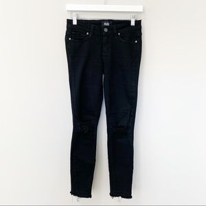 PAIGE Verdugo Crop Black Distressed Skinny Jeans